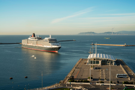 elisabeth: Cagliari 12102015 - Cunard Queen Elisabeth enters the port of Cagliari in the early morning