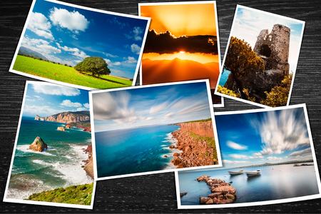 Composite of printed photos with some travel pictures