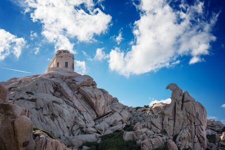 capo: Old building perched on granite rocks shaped by wind , Capo Testa - Santa Teresa di Gallura, Sardinia. Stock Photo