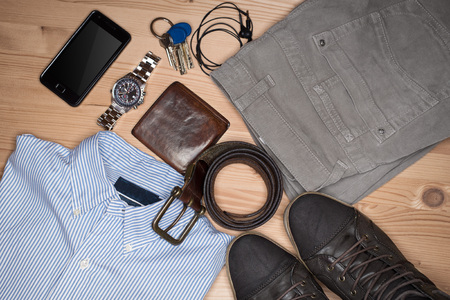 Overhead close up of essentials modern man. Outfit of business man. Stockfoto