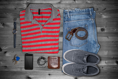 outfits: Overhead view of mens casual outfits, Outfits of traveler, boy, Mens casual outfits on wood board background