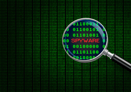 cyber defence: Magnifying glass locating spyware in computer machine code Stock Photo