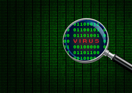 identifying: Magnifying Glass scanning and identifying a computer virus. Stock Photo