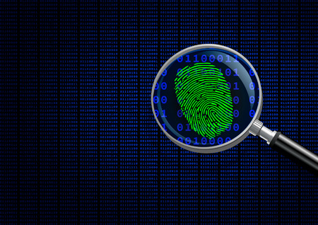 Magnifying Glass searching code for on-line activity. Stock Photo