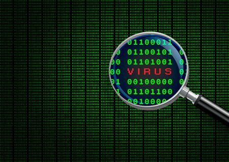 virus informatico: Ampliaci�n de la exploraci�n de vidrio y la identificaci�n de un virus inform�tico. Foto de archivo