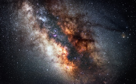 Center of Milky Way - The real colors of milky way galaxy, astronomic picture.