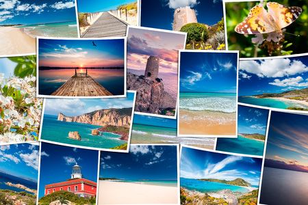 Collage of seaside travel photos - South Sardinia holiday photo scattered