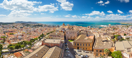 mediterranean coast: Panoramic view of Cagliari city in a beautiful sunny day