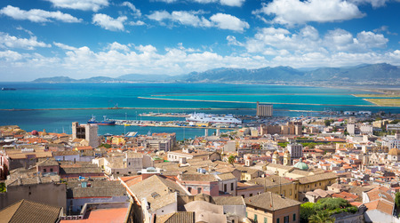 mediterranean coast: Aerial view of Cagliari with the harbor in distance