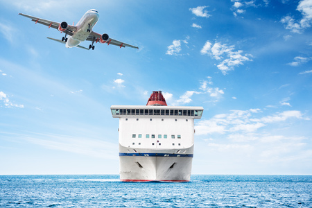 huge: Big cruise ship and plane over the sea as theme for vacations and traveling Stock Photo
