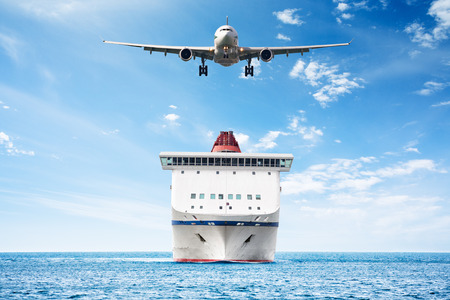 Big cruise ship and plane over the sea as theme for vacations and traveling Фото со стока