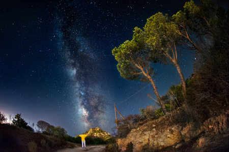the way: Milky way in the country Stock Photo