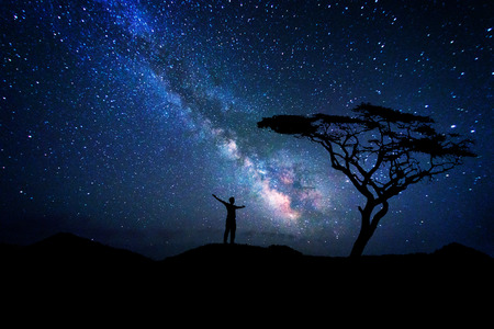 Man silhouette admiring the milky way galaxy near a tree Stock Photo
