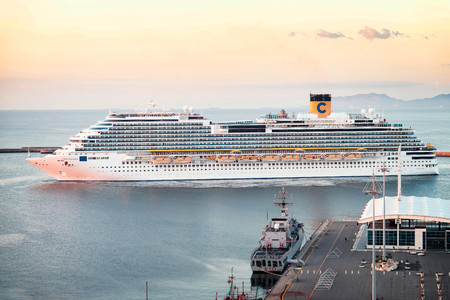 fortuna: Cagliari, Italy 22092016;  Costa Crociere Costa Diadema arriving the Cagliari harbour at sunrise