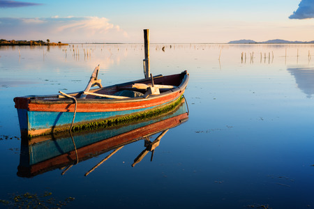 specular: Perfectly specular reflection on the calm pond at dawn with a fisherman boat