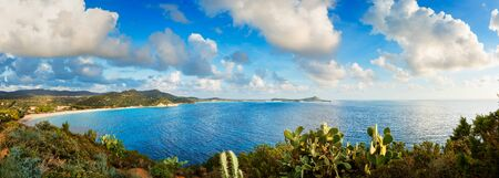 Panoramic view of a beautiful bay with azure sea from top of a hill - Villasimius - Sardinia island, Italy Stock Photo
