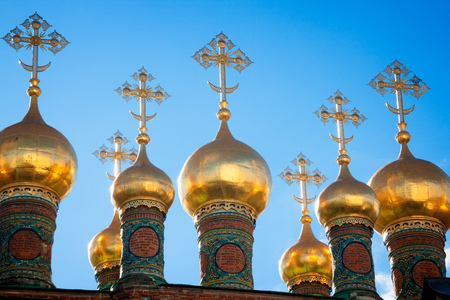 deposition: Domes of the Verkhospassky Cathedral in the Moscow Kremlin, Russia