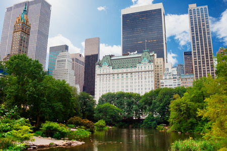 Central Park, New York City in de buurt van het Plaza Hotel Stockfoto