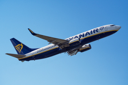 Cagliari, Italy 5/3/2017; Ryanair B737-800 climbing in the sky Editorial