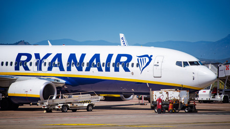 Cagliari, Italy 1-5-2017; Close up of Ryanair b737-800 parked