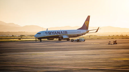 Cagliari, Italy 1-5-2017; B737-800 Ryanair at sunset waiting for taxi