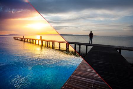 Antes e depois do exemplo de processo de edição de fotos, correção de cor, brilho e saturação de pé de silhueta de homem no cais de madeira ao pôr do sol Foto de archivo