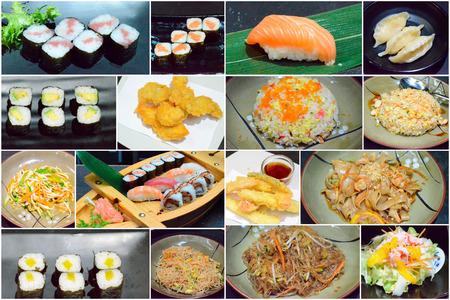 Menú de comida china y japonesa . restaurante chino y comida japonesa Foto de archivo - 107085957