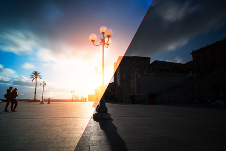 Before and after example of photo editing process, color correction, brightness and saturation of a sunset on a big square Reklamní fotografie - 111361584