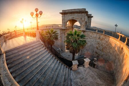 Internal staircase of Bastione Saint Remy fortification, after the redevelopment, at sunrise  in Cagliari - Castello district. Stok Fotoğraf