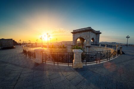 View at sunrise of the highest terrace of  Bastione Saint Remy fortification in Cagliari - Castello district. Stok Fotoğraf