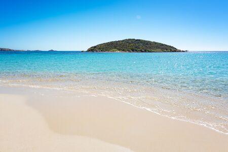 Famous Tuerredda beach on the south of Sardinia near Teulada, with white sand and turquoise sea. Stockfoto