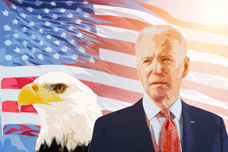 Cagliari, Italy 4/11/2020. Portrait of Joe Biden new President of USA 2020. Joe Biden wins presidential election 2020. Biden with american flag on background. Restore the soul of America.