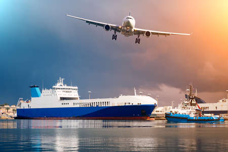 Logistics and transportation of International Container Cargo ship and cargo plane in the ocean at twilight sky. Banco de Imagens