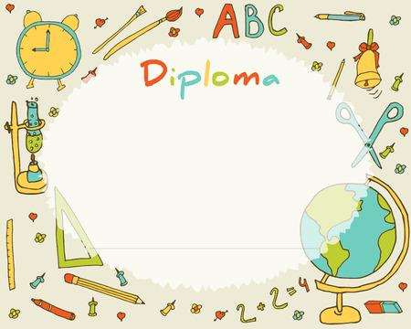 preescolar: La escuela primaria Preescolar. Niños Diploma certificado de antecedentes plantilla de diseño. Diploma de la escuela. Vectores