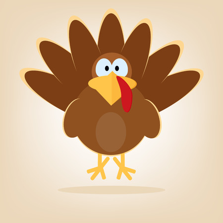 Turkey in cartoon style. Funny character Thanksgiving. Happy Thanksgiving funny illustration. Flat style.
