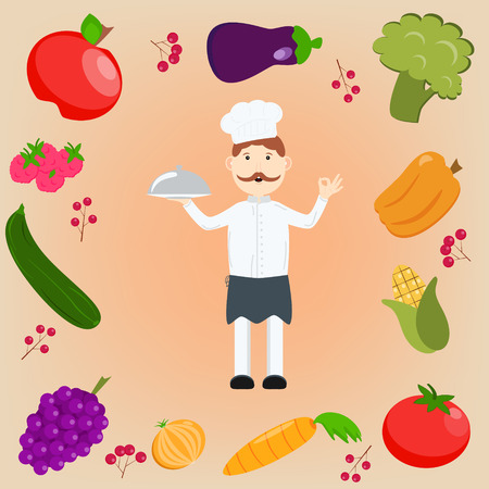 onions: A cartoon happy chef character holding a platter or cloche and giving an okay or perfect chef gesture. Set of fruits and vegetables: apple, eggplant, carrots, onions, zucchini, peppers, corn, grapes, raspberries, cranberry, tomato, broccoli.