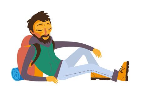Happy bearded traveler with backpack lying on rest. Illustration