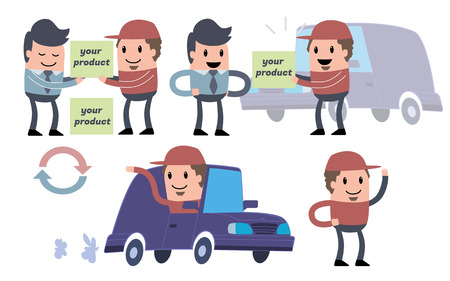 brings: Courier in a red cap brings goods by blue car
