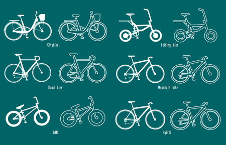 disign: Set of border illustrations of different types of bicycles in flat disign Illustration