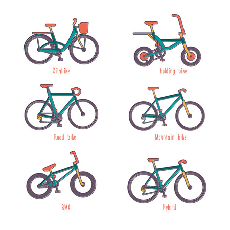 disign: Set of colour illustrations of different types of bicycles in flat disign Illustration