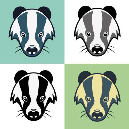 growl: Four heads colour badgers mascot school emblem Illustration