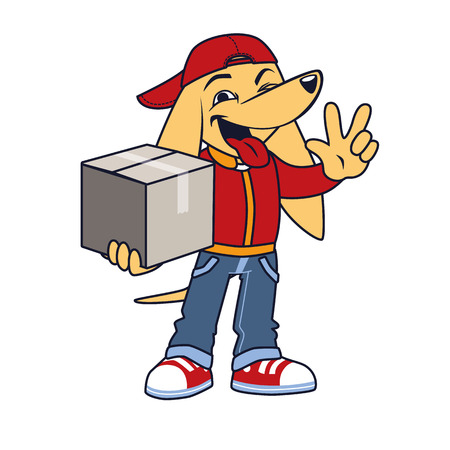 victory sign: Asian dog in courier clothing with box shows victory sign Illustration