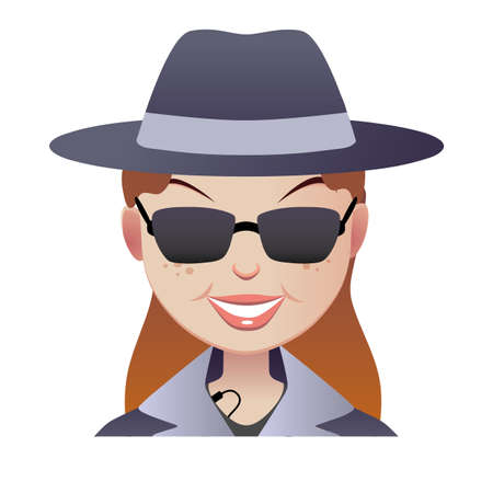 full face: Mystery red-haired secret shopper full face.  Smiley woman in a hat in a coat and sunglasses with a microphone.