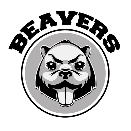 Beaver icon in black and white with retro  style