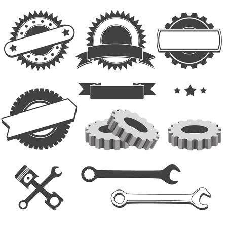 Réglez l'insigne, emblème ou un élément de mécanicien, garage, réparation automobile, services automobiles Banque d'images - 43377616