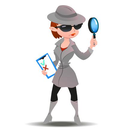 Mujer del misterio comprador en espía abrigo, botas, gafas de sol y sombrero con lupa y lista de comprobación. Vector de longitud completa. Ilustración de vector