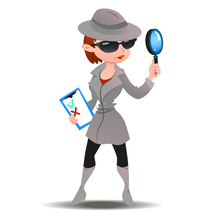 checklist: Mystery shopper woman in spy coat, boots, sunglasses and hat with magnifier and checklist. Full-length vector.