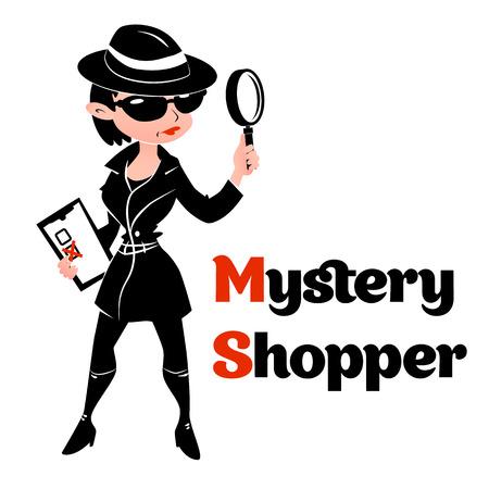 Zwart en wit mystery shopper vrouw in spion jas, laarzen, zonnebril en hoed met vergrootglas en checklist. Full-length vector.