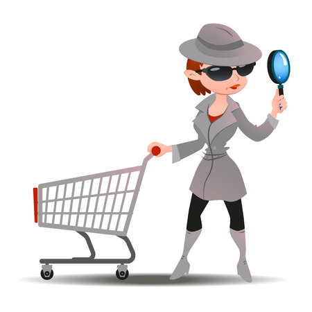 woman shopping cart: Mystery shopper woman in spy coat, boots, sunglasses and hat with magnifier and shopping cart. Full-length vector.