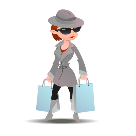 secret: Mystery shopper woman in spy coat, boots, sunglasses and hat with shopping paper bags. Full-length vector.